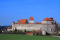 Castle Harburg stronghold by blue sky Royalty Free Stock Photo