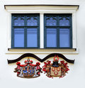 Castle heraldic emblems knight symbols and windows on the wall zinkovy west bohemia Royalty Free Stock Images