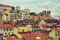 Castle hill neighborhood vintage panorama of old traditional city of lisbon with houses of Stock Images