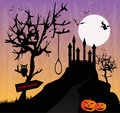 The castle in the horror night black forest halloween Stock Image