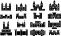 Castle icons this is a set of ized castles Stock Images