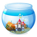 A castle inside an aquarium illustration of on white background Stock Image