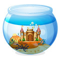A castle inside the aquarium illustration of on white background Stock Photography