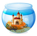 A castle inside a fishbowl illustration of on white background Royalty Free Stock Photo