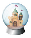 A castle inside a glass dome illustration of on white background Stock Photos
