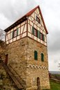 Castle of koenigsberg with it s famous half timbered tower in bavaria germany europe Stock Photos
