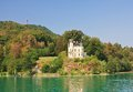 Castle on lake worth in carinthia austria view of reifnitz Royalty Free Stock Photography
