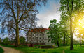 Castle in leÅ›nica wroclaw poland near panoramic photography Stock Photos