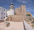 The castle and lighthouse of Peniscola (Spain) Royalty Free Stock Photos