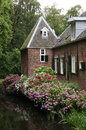 Castle moat with hortensia flowers belonging to slot zuylen in the netherlands Royalty Free Stock Photography