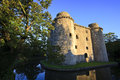 Castle and moat somerset uk ruins in nunney Stock Photos