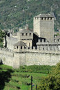 Castle of montebello at bellinzona on the swiss alps Stock Photo
