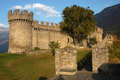 Castle of montebello at bellinzona unesco world heritage on the italian part of switzerland Stock Image