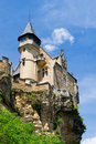 Castle montfort on mountain in france Stock Photo
