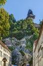 Castle mountain with clock tower, Graz, Austria Royalty Free Stock Photo