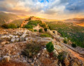 Castle nimrod ruins of medieval fortess in northern golan heights in israel Royalty Free Stock Photos