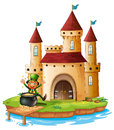 A castle with an old man near the pot of gold coins illustration on white background Royalty Free Stock Image