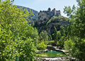 Castle over Fontaine-de-Vaucluse Stock Images