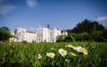 Castle park with flowers in summer Stock Image