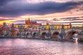 Castle of Prague (Czech Republic), Charles (Karluv) Bridge and Vltava River Royalty Free Stock Photo