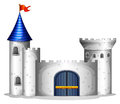 A castle with a red flag illustration of on white background Stock Images