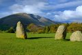 Castle rigg stone circle keswick uk loking towards blencathra Royalty Free Stock Photos