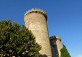 Castle of rocca pia tivoli rome fortificated wall and tower among the high green trees clear ble sky Stock Photography