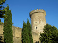 Castle of rocca pia tivoli rome fortificated wall and tower among the high green trees clear ble sky Royalty Free Stock Image