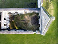 Castle ruin from above a bird eye view Royalty Free Stock Photography