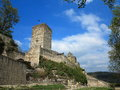 Ruins of spur castle medieval fortification Royalty Free Stock Photo