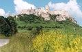 Zrúcanina hradu a pole