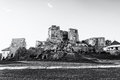Castle ruins in Levice city, Slovakia, black and white Royalty Free Stock Photo