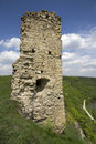 Castle ruins old of a on the high bank of the river western ukraine Royalty Free Stock Image