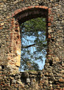 Castle ruins window Royalty Free Stock Photo
