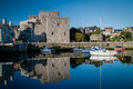 Castle Rushen Castle and Castletown harbor Royalty Free Stock Photo