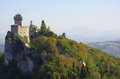 Castle of san marino view on the on the cliff Royalty Free Stock Images