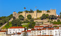 Castle Sao Jorge Belevedere Miradoura Outlook Lisbon Portugal Royalty Free Stock Photo