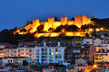 Castle of Sao Jorge, Lisbon night view Royalty Free Stock Photography