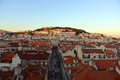 Castle of sao jorge lisbon portugal são portuguese castelo de são and alfama district at sunset in Stock Photography