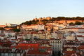 Castle of sao jorge lisbon portugal são portuguese castelo de são and alfama district at sunset in Royalty Free Stock Photography