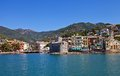 Castle on the sea castello sul mare and rapallo town italy view of circa national monument of from bay province of genoa Royalty Free Stock Photo