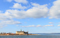 Castle on the shores of oresund helsingor shot from strait a cloudy day Royalty Free Stock Photo