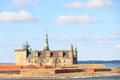 Castle on the shores of oresund helsingor shot from strait a cloudy day Stock Photo