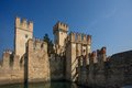 Castle in sirmione italy scaliger castello scaligero on lake garda italy Royalty Free Stock Photography