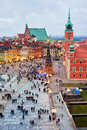 Castle square in the old town of warsaw poland illuminated at evening during christmas time Stock Images