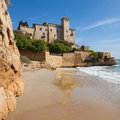 Castle of tamarit from cala jovera the beach in tarragona spain Stock Photo