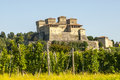 Castle of torrechiara and vineyard parma emilia romagna italy at summer Royalty Free Stock Photos
