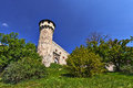 Castle tower fortress on the hill with trees to the sides and blue sky Stock Photo