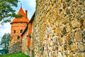 Castle tower red brick and wall of the trakai in lithuania Stock Photography