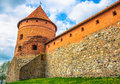 Castle tower red brick and wall of the trakai in lithuania Stock Images